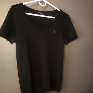 WOMENS BLACK RALPH LAUREN V-NECK XL T-SHIRT